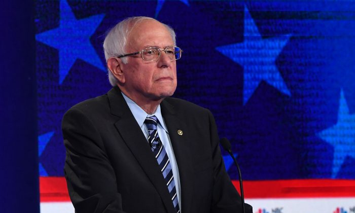Presidential hopeful Sen. Bernie Sanders (I-Vt.) looks on during the second Democratic primary debate of the 2020 presidential campaign season hosted by NBC News at the Adrienne Arsht Center for the Performing Arts in Miami, Florida, June 27, 2019. SAUL LOEB/AFP/Getty Images