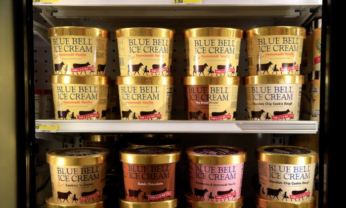 Blue Bell Ice Cream on shelves of a grocery store in a file photograph. (Jamie Squire/Getty Images)