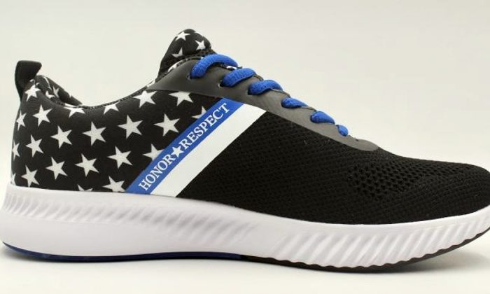Each pair of Honor and Respect sneakers sold will support police officers and civil servants who are experiencing post traumatic syndrome and at risk of suicide. (Courtesy of Honor and Respect LLC)