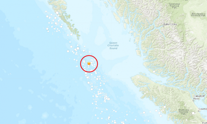 A 6.2 magnitude earthquake hit British Columbia's Haida Gwaii archipelago region off the west coast on July 3, 2019. (USGS)