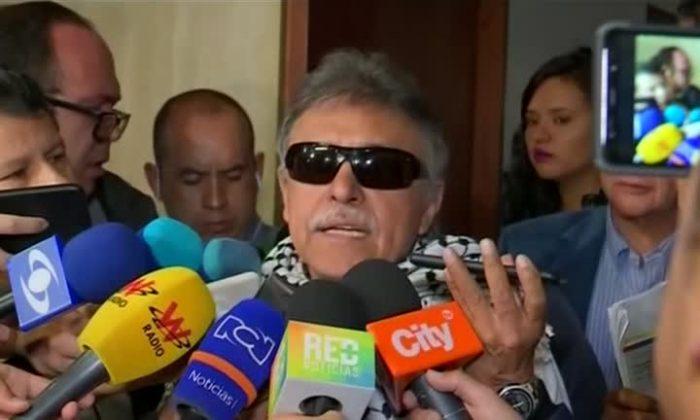 Former FARC commander Seuxis Paucias Hernandez, talks to reporters in Bogota, Colombia, on June 11, 2019. (Reuters)