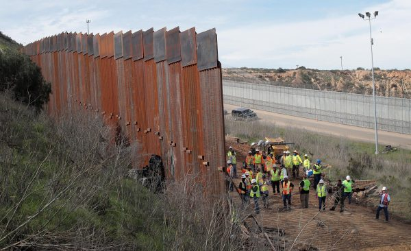 A section of border wall is constructed on the U.S. side of the border in Tijuana