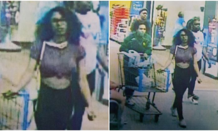 Stills from security footage in a Lufkin Walmart store showing the woman who detectives believe licked an ice cream tub before returning it, in a viral video. (Lufkin Police)