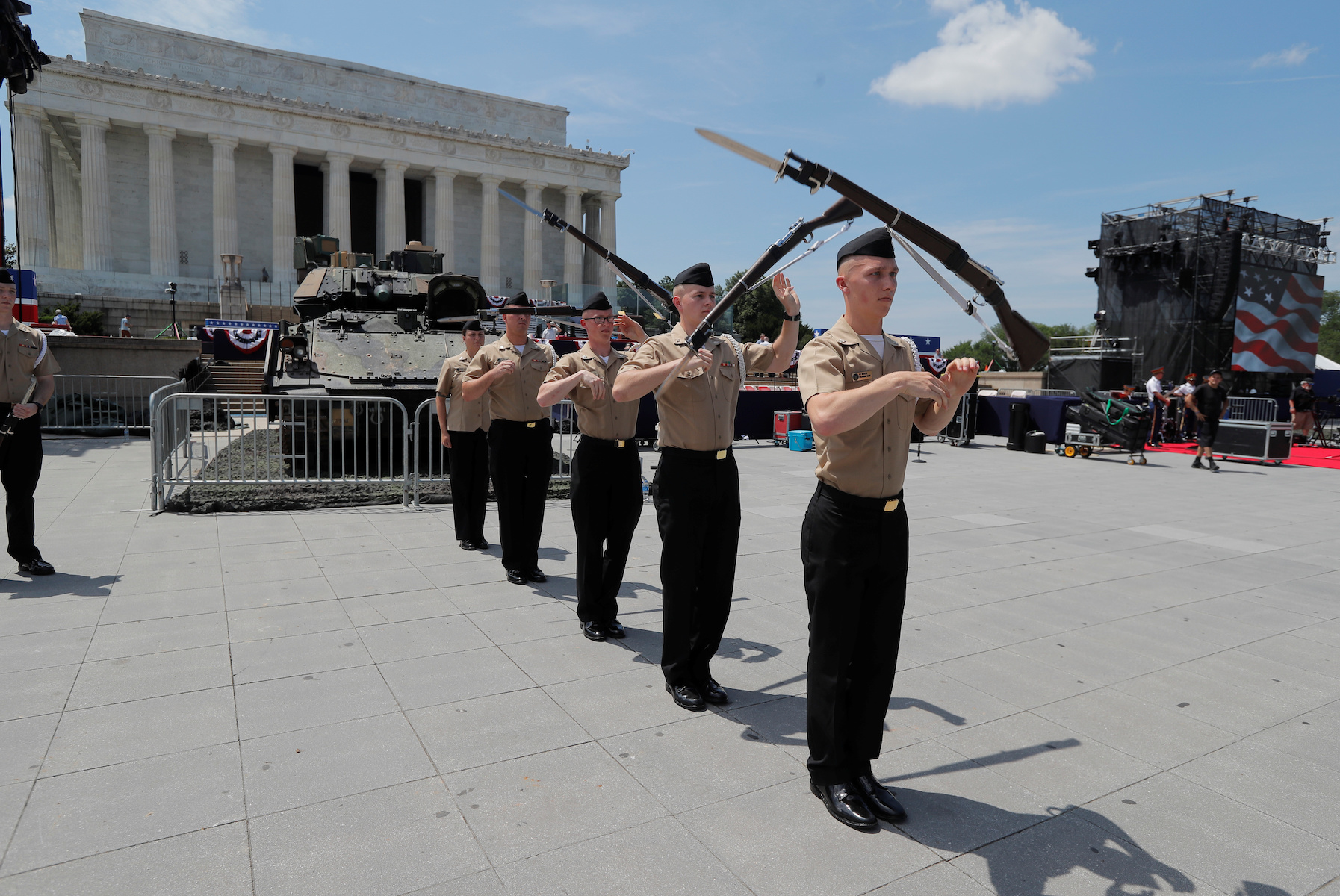 U.S. Navy Ceremonial Guard rehearses as July Fourth preparations continue at the Lincoln Memorial in Washington