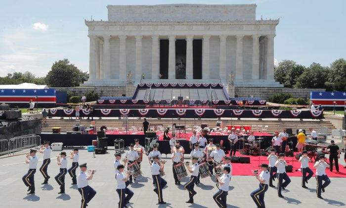 Members of a U.S. military band rehearse as preparations continue for President Donald Trump's Fourth of July speech at the Lincoln Memorial in Washington on July 3, 2019. (Jim Bourg/Reuters)