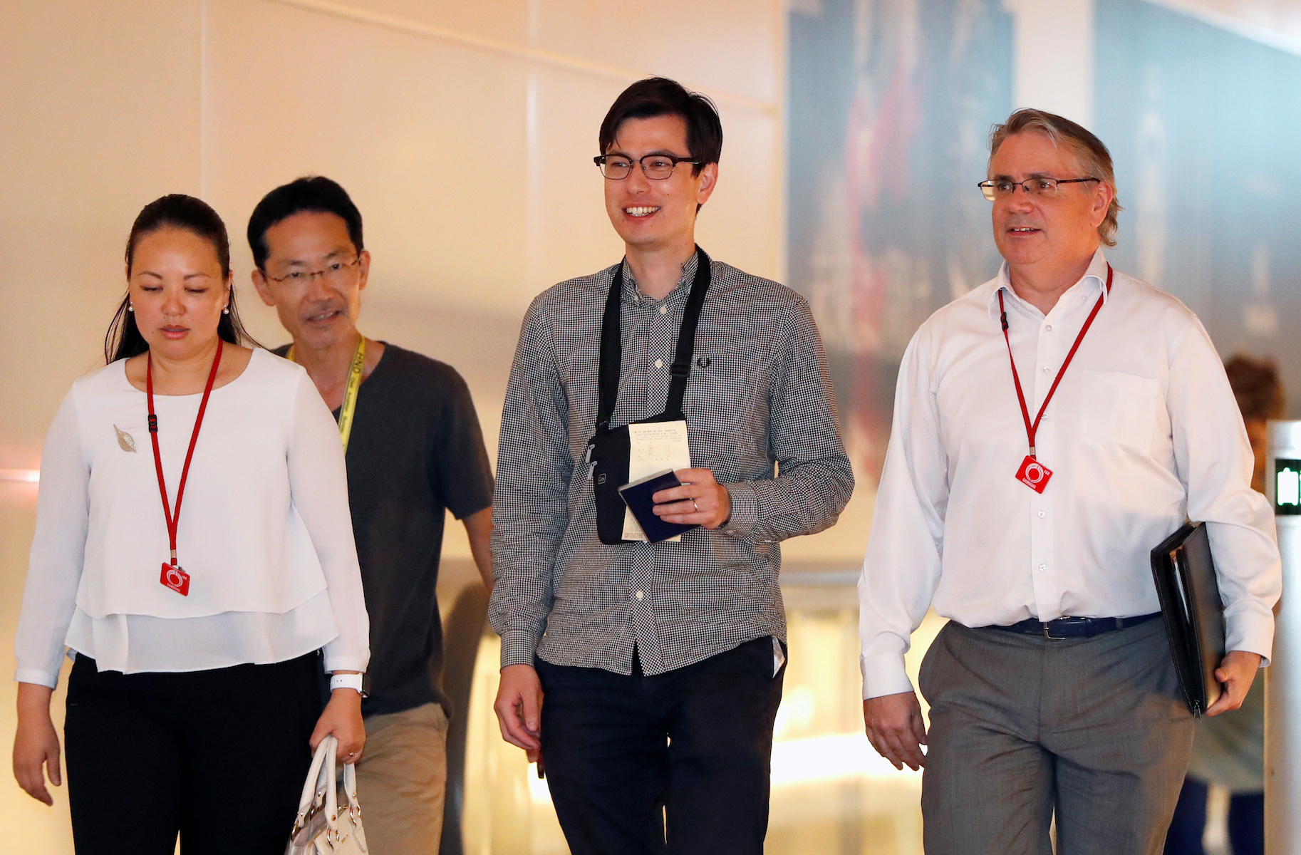 Australian student Alek Sigley arrives at Haneda International Airport in Tokyo