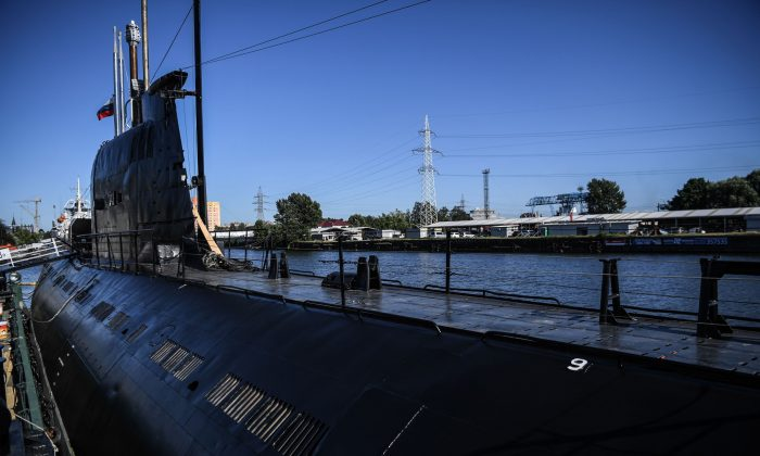 A retired B-413 Soviet submarine docked next to the naval museum in Kaliningrad, Russia on June 20, 2018. (Ozan Kose/AFP/File Photo via Getty Images)