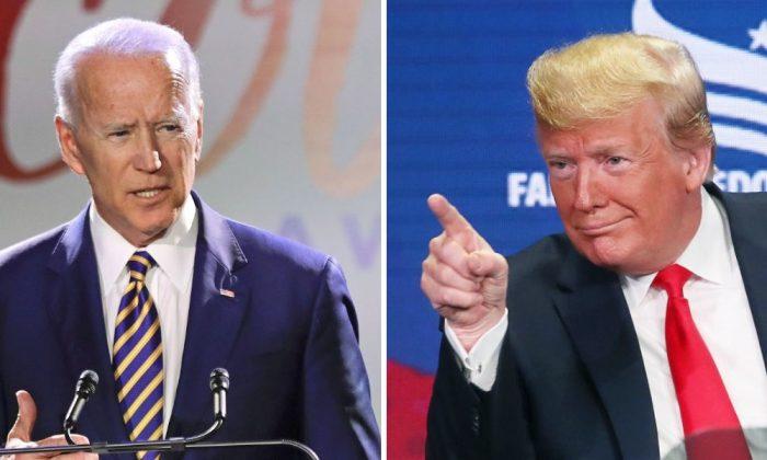 Former Vice President Joe Biden (L). (Frank Franklin II/AP Photo); Presidet Donald Trump (R). (Mark Wilson/Getty Images)