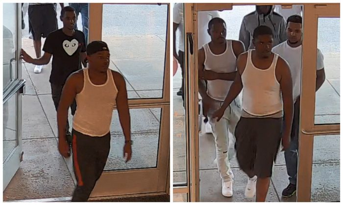 "Some of the suspects of a July 1, 2019, ""flash mob"" theft in Pleasant Prairie, Wisconsin, entering the mall. (Pleasant Prairie Police Department)"