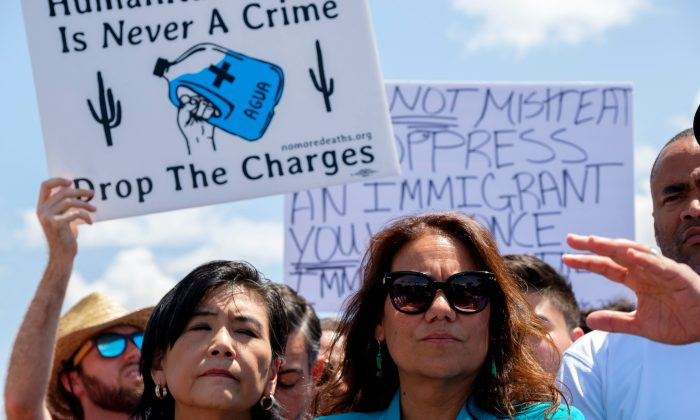 Rep. Veronica Escobar (R) at a press conference after lawmakers toured Border Patrol facilities in Clint, Texas, on July 1, 2019. (Luke Montavon/AFP/Getty Images)