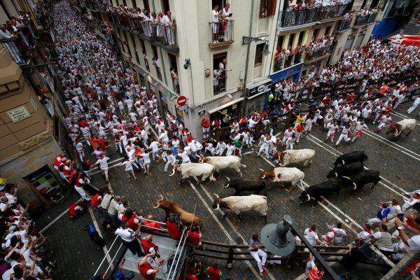 people running from bulls