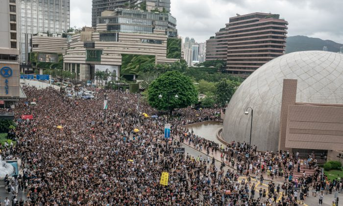 Over 230,000 people rallied in Kowloon, Hong Kong on July 7, 2019 as pro-democracy demonstrators have continued on the streets of Hong Kong for the past month, calling for the complete withdrawal of a controversial extradition bill. (Anthony Kwan/Getty Images)
