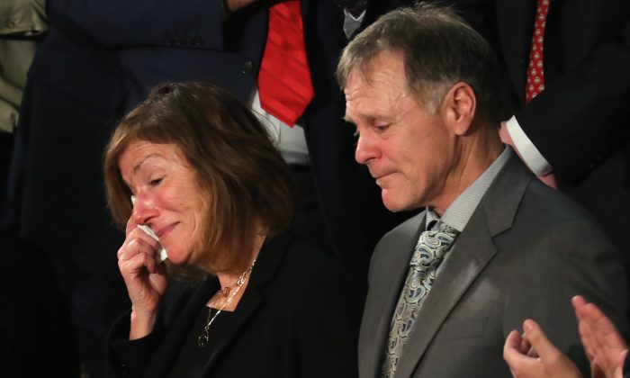 The parents of Otto Warmbier, Fred and Cindy Warmbier, are acknowledged during the State of the Union address in the chamber of the U.S. House of Representatives on Jan. 30, 2018. (Chip Somodevilla/Getty Images)