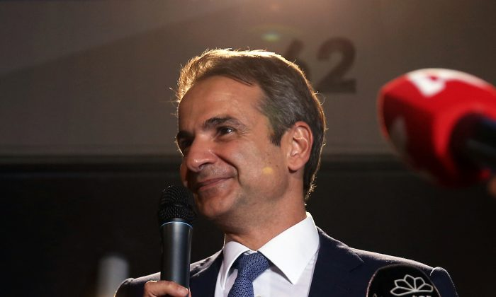 Greek New Democracy conservative party leader Kyriakos Mitsotakis speaks outside party's headquarters, after the general election in Athens, Greece, on July 7, 2019. (Costas Baltas/Reuters)