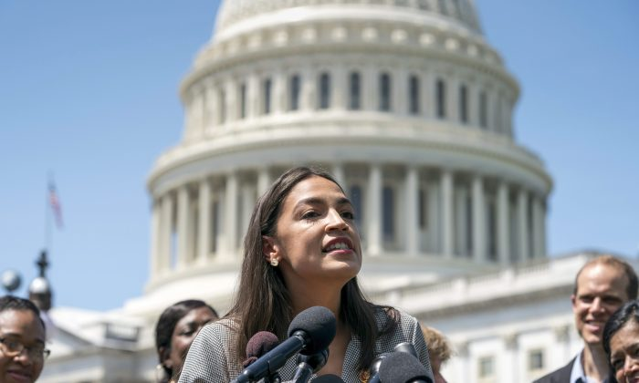 New York Rep. Alexandria Ocasio-Cortez speaks during a news conference introducing the College For All Act in Washington on June 24, 2019. Co-sponsored by three senators including Sen. Bernie Sanders, the bill proposes cancelling the country's outstanding $1.6 trillion in student debt. (AP Photo/J. Scott Applewhite)