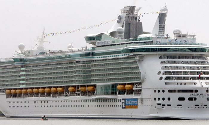Freedom of the Seas, sits off the shores of Bayonne, New Jersey 12 May, 2006 in New York Harbor. (Don Emmert/AFP/Getty Images)