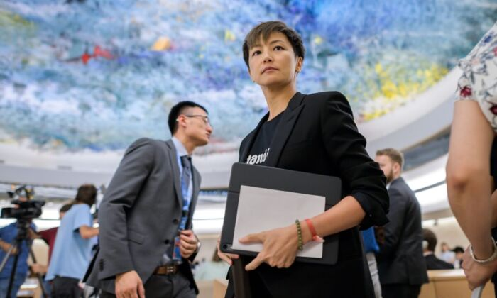 Pro-democracy Hong Kong singer Denise Ho looks on after addressing the United Nations Human Rights Council in Geneva on July 8, 2019. (FABRICE COFFRINI/AFP/Getty Images)