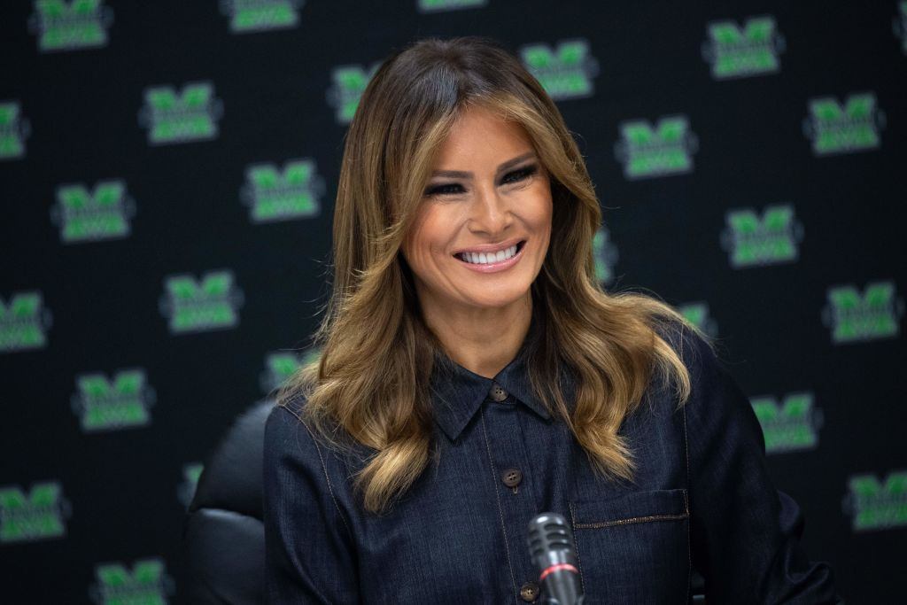 Melania Trump Wears Gorgeous Denim Shirt Dress to Join Discussions