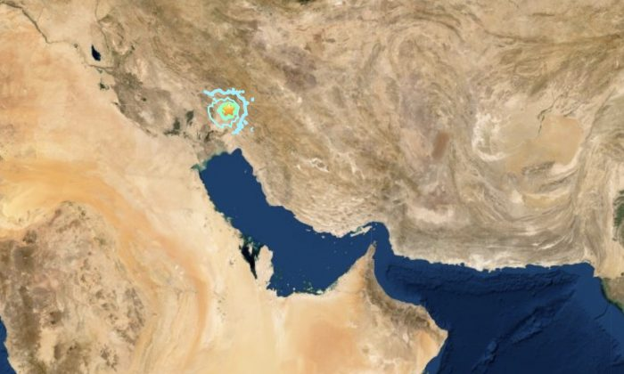 A 5.7 magnitude earthquake hits Iran on July 8, 2019. (Screenshot/USGS)