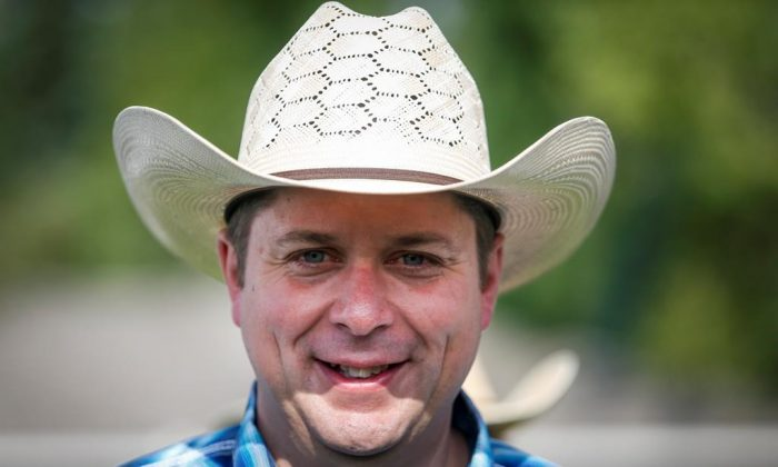 Conservative leader Andrew Scheer, attends a Stampede breakfast in Calgary on July 6, 2019. (Jeff McIntosh/The Canadian Press)