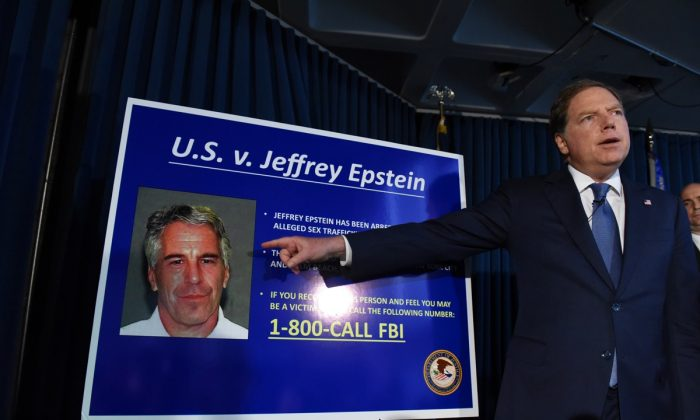 U.S. Attorney for the Southern District of New York Geoffrey Berman announces charges against Jeffery Epstein in New York City on July 8, 2019. (Stephanie Keith/Getty Images)