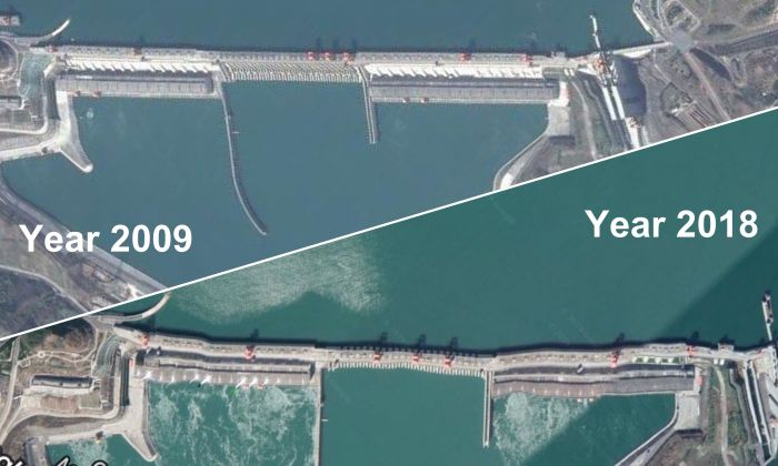 The satellite images' comparison of Three Gorges Dam in 2009 and 2018. (Google Earth/Leng Shan)