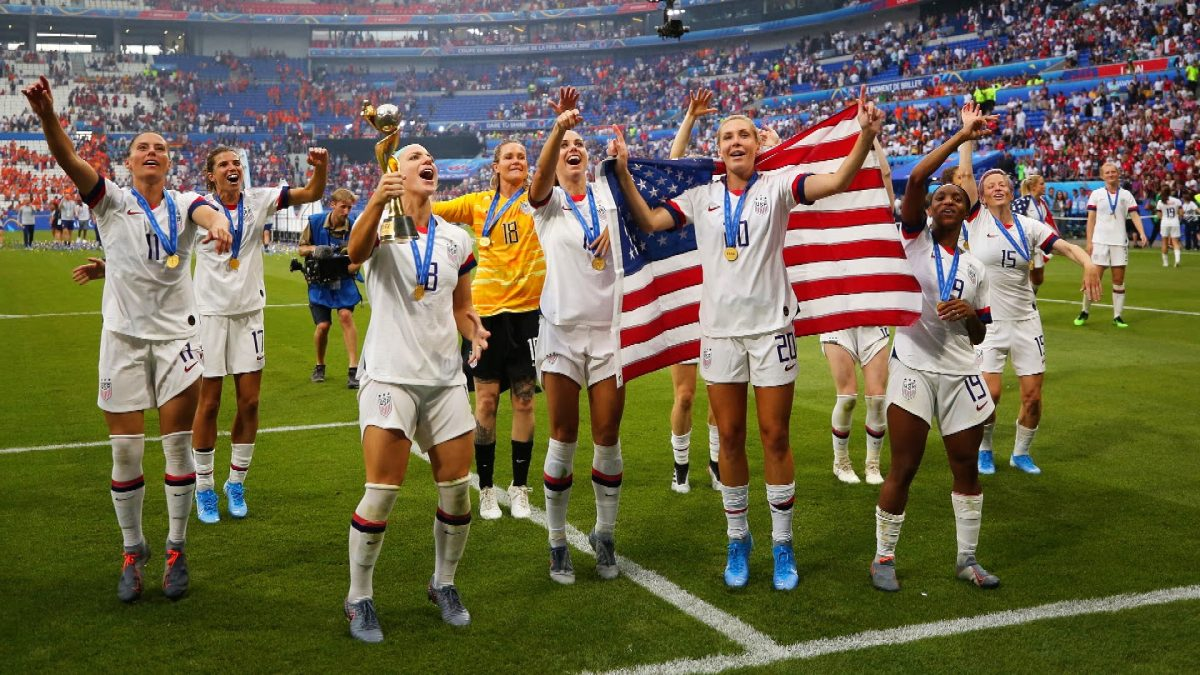 1a200974a U.S. women's national soccer team players celebrate after winning the 2019  World Cup in Lyon,