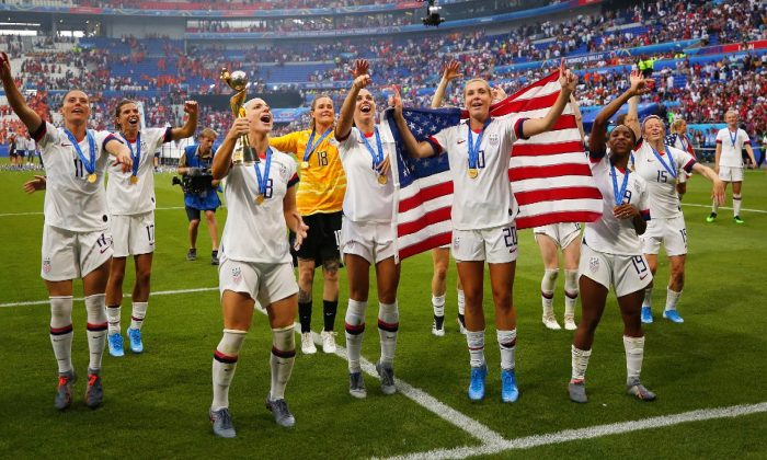 U.S. women's national soccer team players celebrate after winning the 2019 World Cup in Lyon, France, on July 7, 2019. (Maja Hitij/Getty Images)