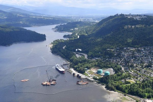 A aerial view of Kinder Morgan's Trans Mountain marine terminal, in Burnaby, B.C., is shown on May 29, 2018. (Jonathan Hayward/The Canadian Press)