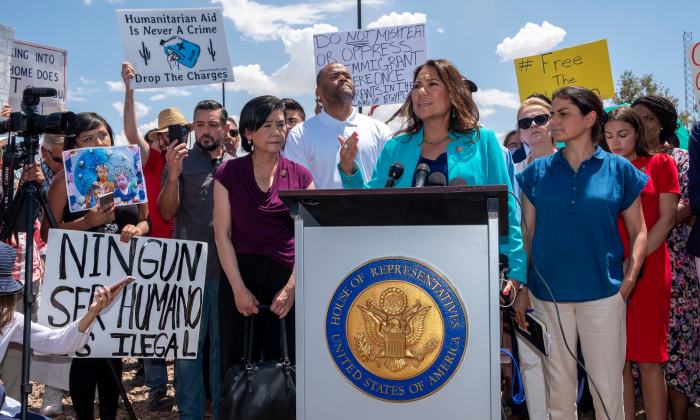 Rep. Veronica Escobar (D-Texas) speaks during a press conference following a tour in Border Patrol facilities and migrant detention centers for 15 members of the Congressional Hispanic Caucus in Clint, Texas, on July 1, 2019. (Luke Montavon/AFP)
