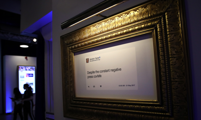 """Patrons view exhibits at the opening of """"The Donald J. Trump Presidential Twitter Library"""" in Washington on June 14, 2019. (Win McNamee/Getty Images)"""
