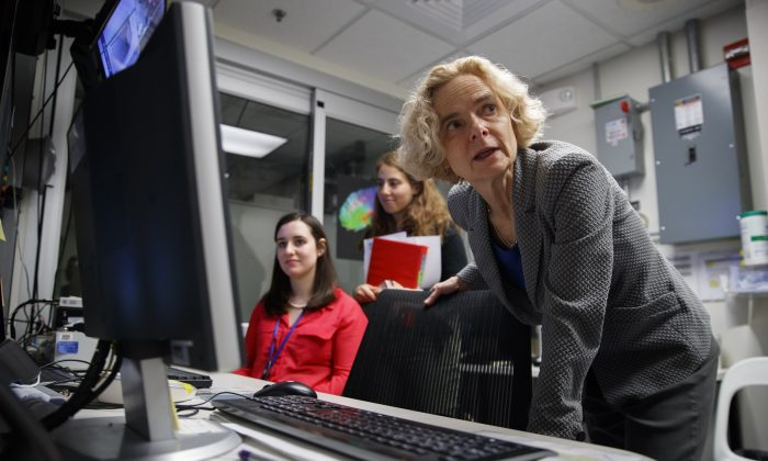 Dr. Nora Volkow, director of the National Institute on Drug Abuse, works in the MRI lab at the National Institutes of Health's research hospital in Bethesda, Md., on May 16, 2019. AP Photo/Carolyn Kaster
