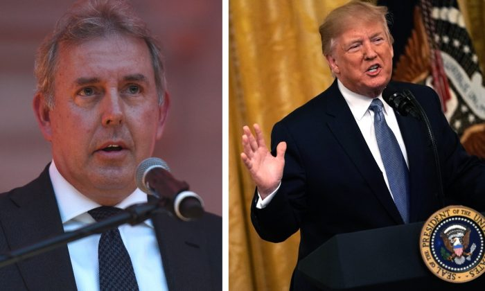 (L) Ambassador Kim Darroch speaks to guests in Washington, DC., on April 28, 2017. (Riccardo Savi/Getty Images for Capitol File Magazine) — (R) President Donald Trump speaks during an East Room event on the environment at the White House in Washington, DC., on July 7, 2019. (Alex Wong/Getty Images)