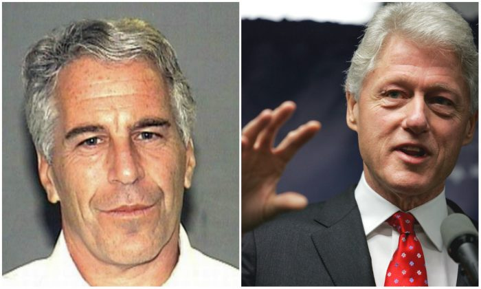 L: Billionaire Jeffrey Epstein in an undated image. (Public Domain) R: Former U.S. President Bill Clinton speaks at a news conference on April 11, 2005 in New York City. (Spencer Platt/Getty Images)