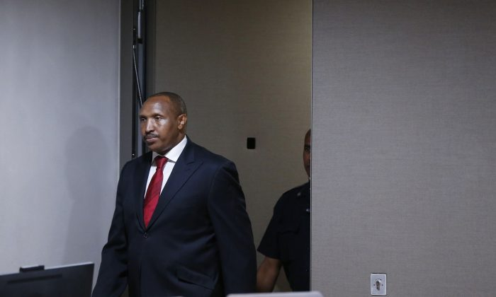 Former Congolese warlord Bosco Ntaganda arrives for his trial at the International Criminal Court (ICC) in The Hague, The Netherlands, on July 8, 2019. (Eva Plevier/AFP/Getty Images)
