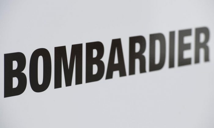 A Bombardier logo is shown at a Bombardier assembly plant in Mirabel, QB. on October 26, 2018. (Graham Hughes/The Canadian Press)