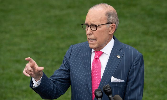 White House economic adviser Larry Kudlow speaks with the media at the White House in Washington, DC, on June 18, 2019. (Jim Watson/AFP/Getty Images)