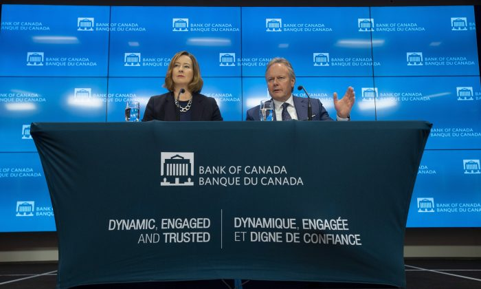 Bank of Canada senior deputy governor Carolyn A. Wilkins and governor Stephen Poloz at a press conference at the bank's head office in Ottawa on July 10, 2019. Canada's central bank kept its overnight rate target at 1.75 percent. (The Canadian Press/Adrian Wyld)