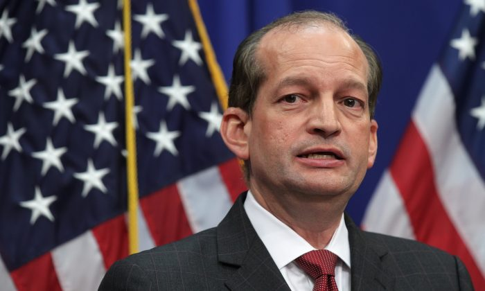 Secretary of Labor Alex Acosta during a press conference at the Labor Department in Washington on July 10, 2019. (Alex Wong/Getty Images)