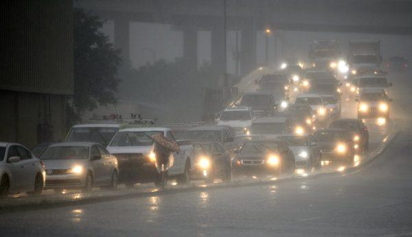 Traffic backs up as rain come down