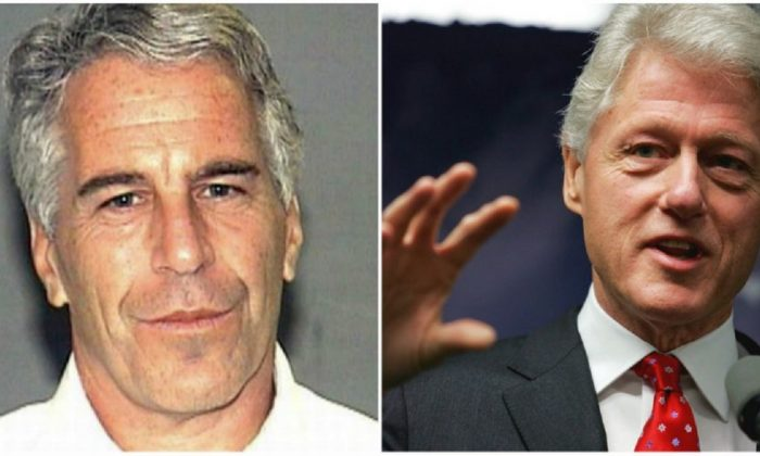 (L): Billionaire Jeffrey Epstein in a file booking photo. (Palm Beach County Sheriff's Office); (R): Former U.S. President Bill Clinton speaks at a news conference in New York City on April 11, 2005. (Spencer Platt/Getty Images)