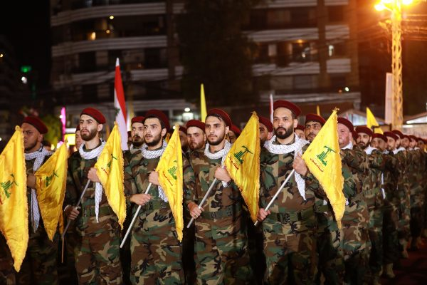 Fighters with the Lebanese Shiite Hezbollah party