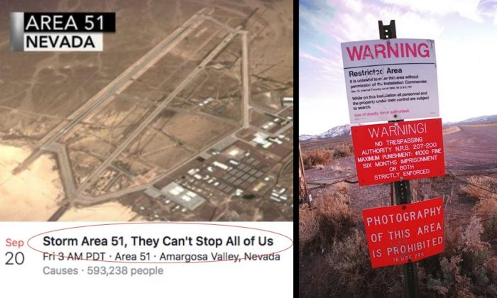 (L-R) A screenshot of the Facebook event calling for a raid on Area 51 and a photo taken on March 12, 2000, showing a warning sign marking the boundary of Area 51, in Rachel, Nevada. (Dan Callister/Getty Images)