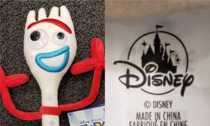 The 11-inch Disney Forky Plush (L) and its label. A recall was issued for the plush on June 9. (Health Canada)
