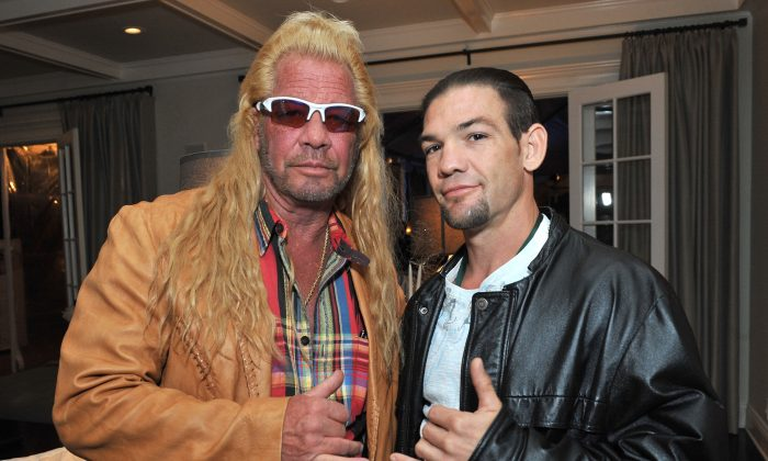 """Duane """"Dog the Bounty Hunter"""" Chapman (L) and Leland Chapman attend the 2013 Electus College Humor Holiday Party in Los Angeles, Cali., on Dec. 12, 2013. (Angela Weiss/Getty Images for Electus)"""