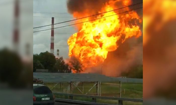A still image taken from video footage shows the fire at an electricity generating power station in the Moscow region, Russia, on July 11, 2019. (Instagram/almazov88 via Reuters)