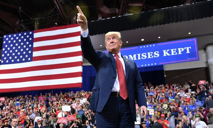 U.S. President Donald Trump arrives to a rally at the Mayo Civic Center in Rochester, Minnesota on Oct. 4, 2018. (Mandel Ngan/AFP/Getty Images)