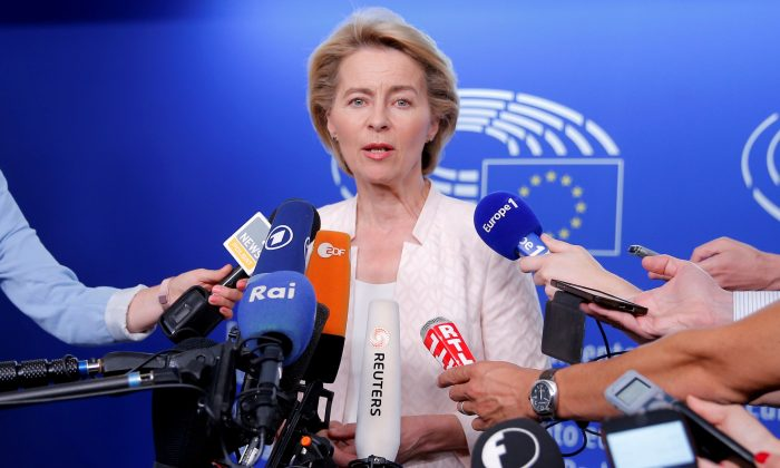 German Defense Minister Ursula von der Leyen, who has been nominated as European Commission President, attends a news conference during a visit at the European Parliament in Strasbourg, France, July 3, 2019.  (Vincent Kessler/Reuters)