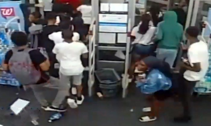 Surveillance footage shows several youth misbehaving at a Walgreens store in Philadelphia, on July 4, 2019. (Courtesy of Philadelphia Police Department)