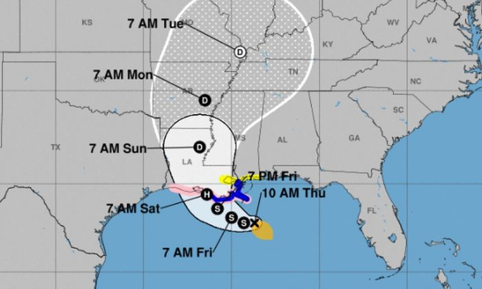 The forecast model showing where Barry is heading (NHC)